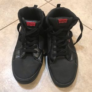 LEVI'S size 13 black leather and canvas low tops
